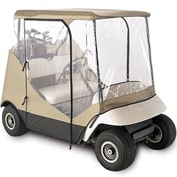 WATERPROOF SUPERIOR BEIGE AND TRANSPARENT GOLF CART COVER CO