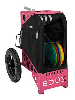 ZÜCA Deluxe DISC Golf CART Onyx/Pink with Rack and Black Ac